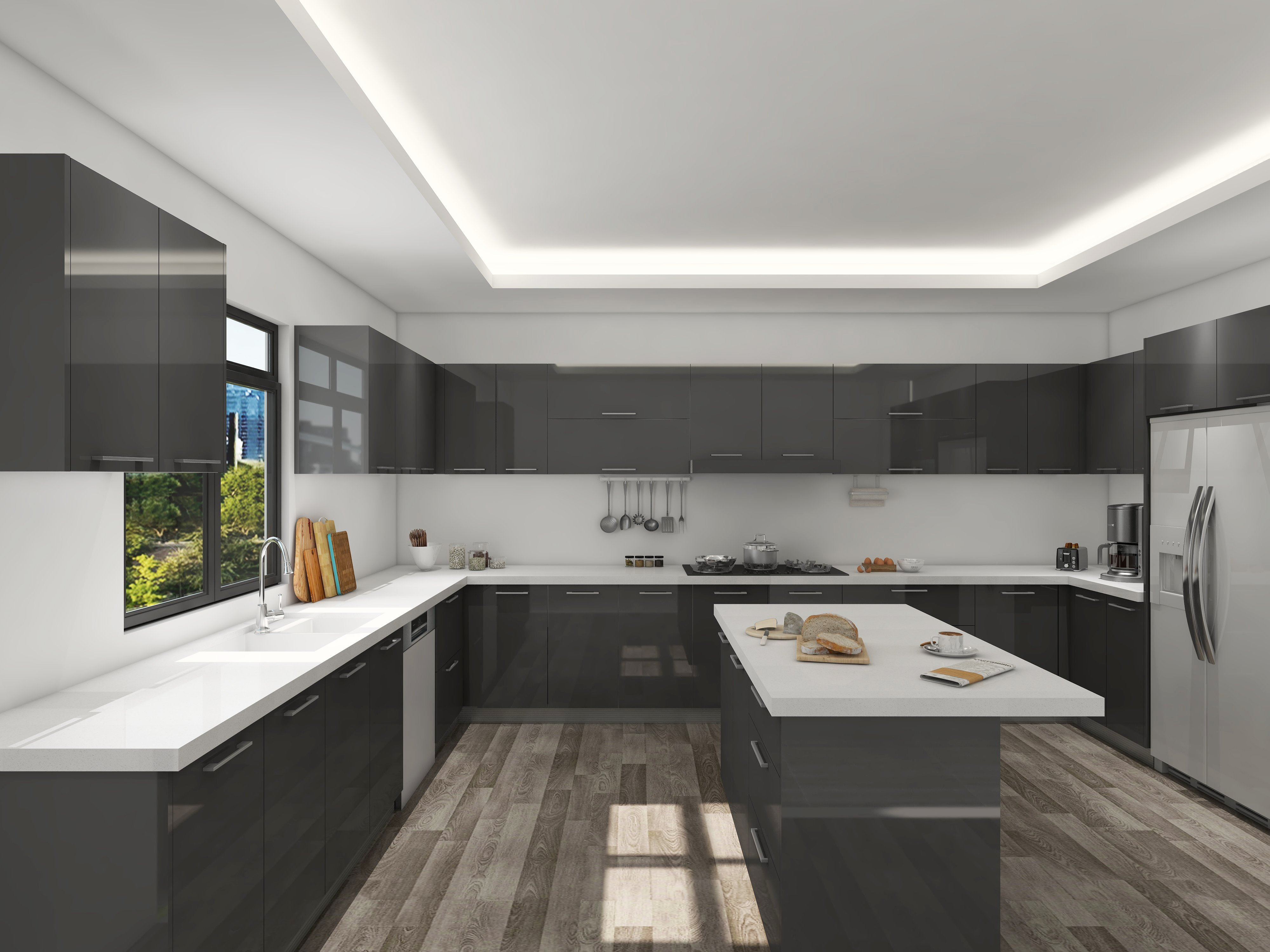 Dark Grey Lacquer Cabinets Wong S Building Supply